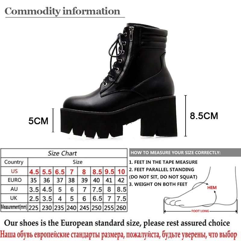 Gdgydh Wholesale Autumn Ankle Boots For Women Motorcycle Boots Chunky Heels Casual Lacing Round Toe Platform Boots Shoes Female