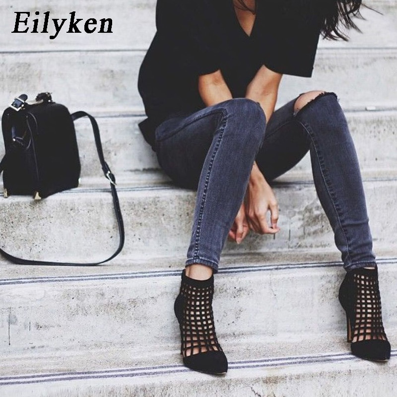 Eilyken Spring/Autumn New Design Women Ankle Boots Pointed Toe Boots Sexy Zipper Super High Hollow out shoes Woman Chelsea Boots
