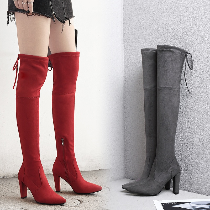 BORRUICE 2019 Sexy Party Boots Fashion Suede Leather Shoes Women Over the Knee Heels Boots Stretch Flock Winter High Boots botas