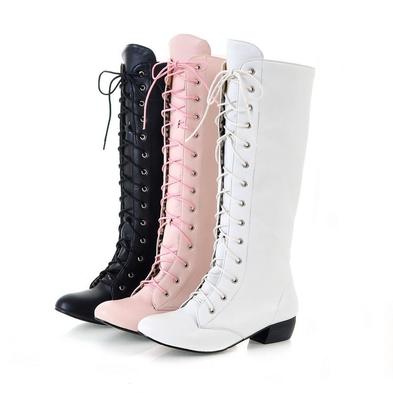 MORAZORA 2018 New fashion knee high boots lace up sexy low heels comfortable high quality autumn women boots white black pink