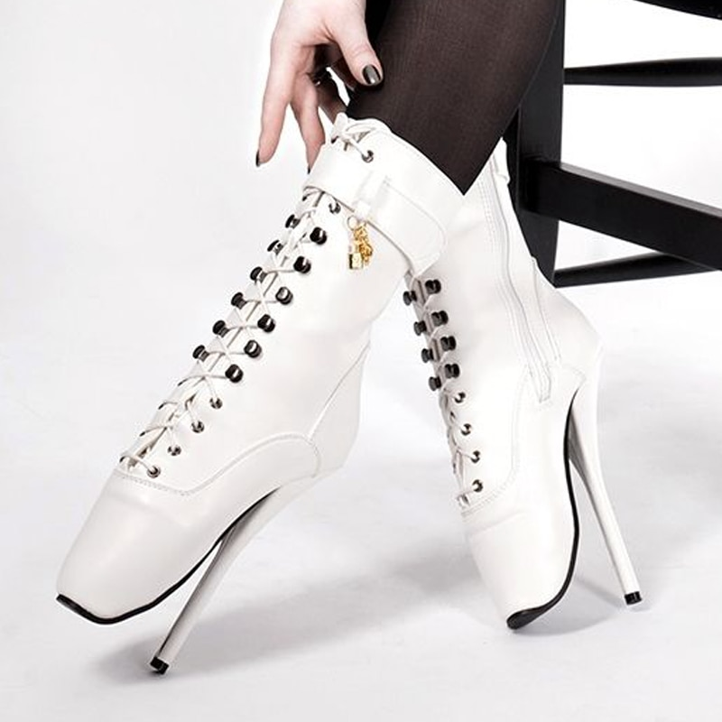 jialuowei 18cm Extreme High Heel Boots Women Sexy Fetish Goth Ankle Ballet Boots Spike Heels Pointed Toe Unisex Party Show Boots