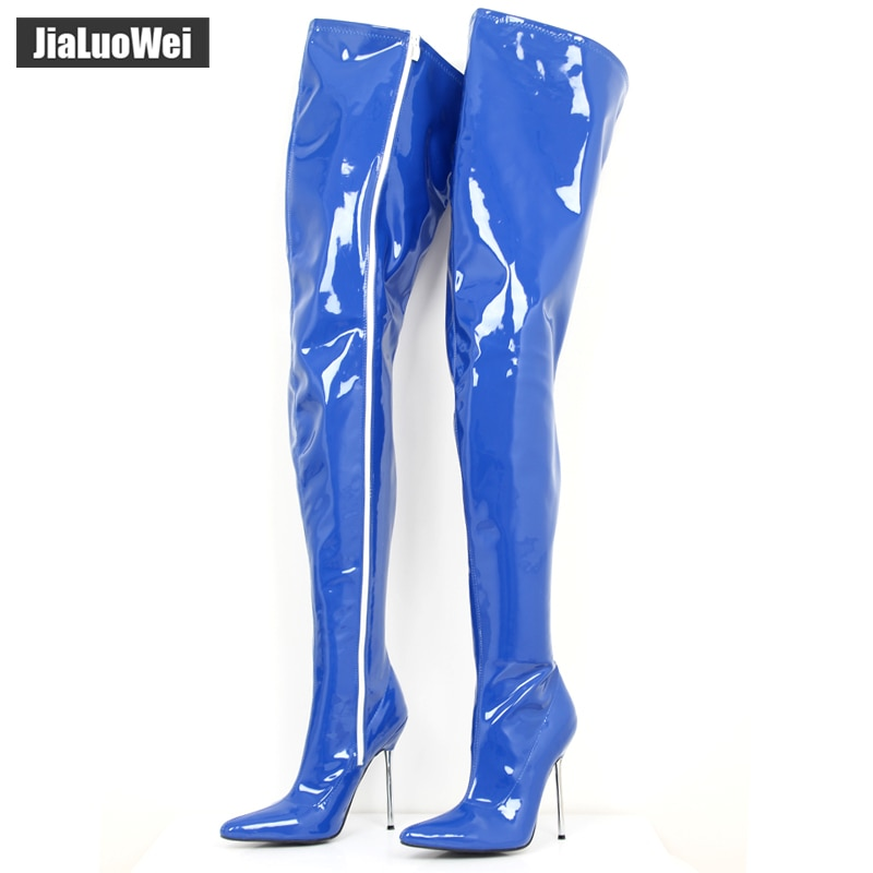 Crotch Boots Thigh High Sexy Fetish Long Boots 12cm Extreme High Heel Over-The-knee Shiny Matte Patent PU Leather Women Boots