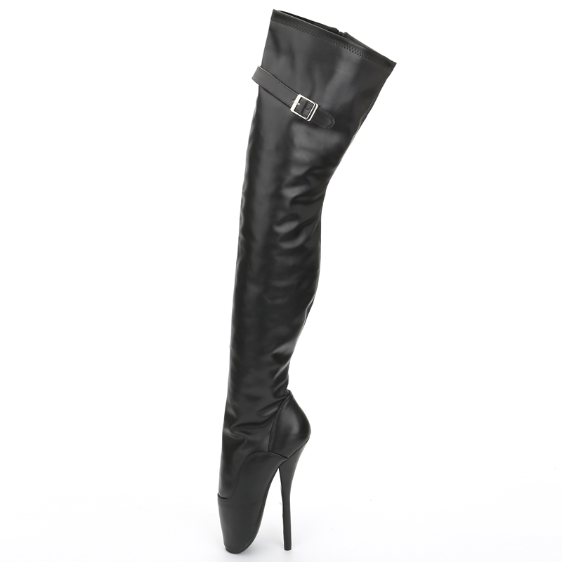jialuowei 7inch Super High heel Boots Women Patent Leather Pointed Toe Side Zip Thigh Hi Ballet Boots, Sexy Fetish Unisex