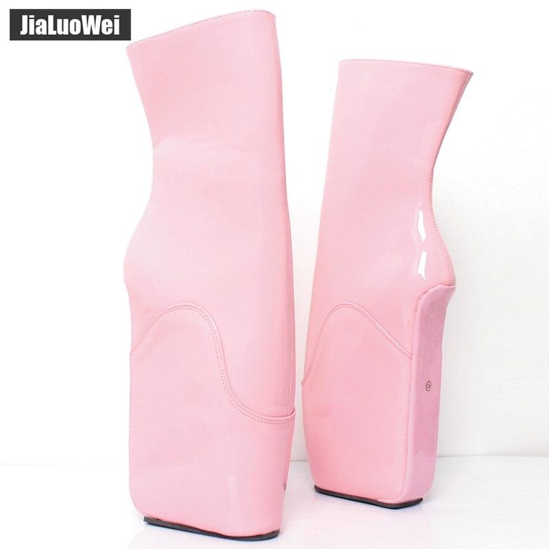 jialuowei Wedge Ballet Boots Women 18cm/7inch High Heel Rubber Boots YKK Zip Heelless Sexy Fetish Pinup RTBU Ankle Boots