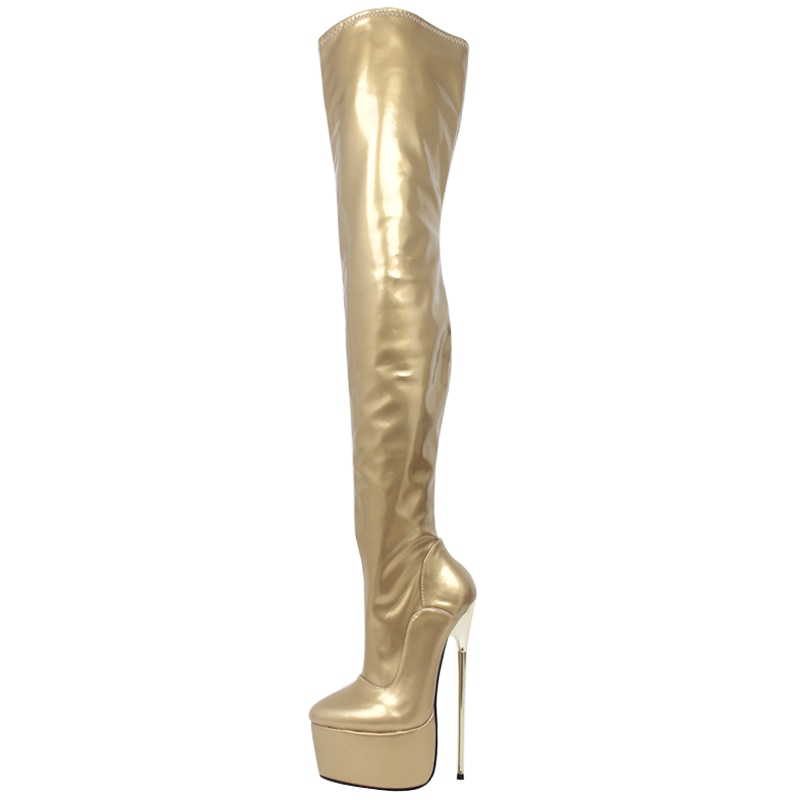 jialuowei 22CM Extreme High Thin Heel Platform Stiletto Pointed Toe Women Sexy Fetish Zip Over-the-Knee Thigh Crotch High Boots
