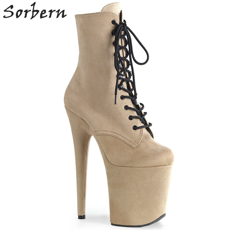 Sorbern Wine Red Ankle Boots Extreme High Heels Devious Shoe Fetish Heels 8 Inch More Colors Sexy Exotic Pole Dance Booties