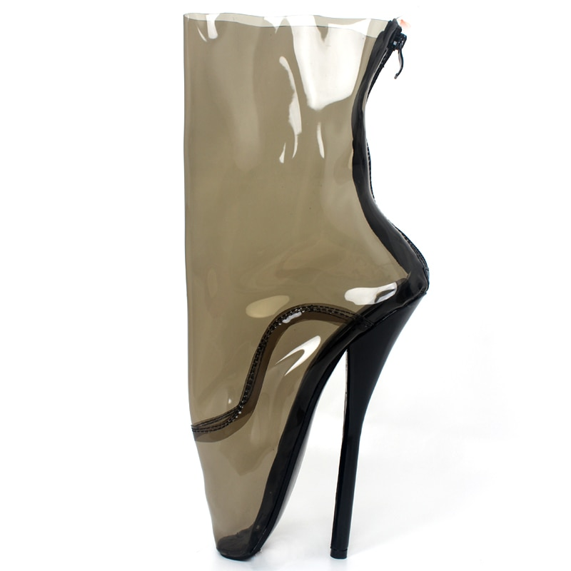 jialuowei Transparent Ballet Boots Clear Women Extreme High Heel Sexy Queen Fetish Boots Zip PVC Mid-Calf Shoes