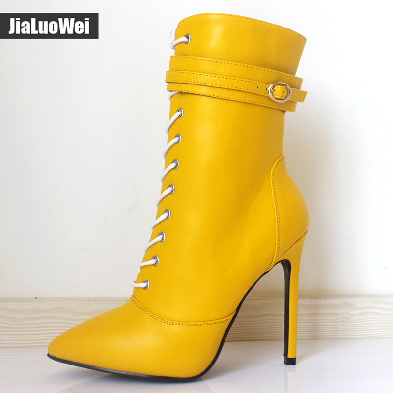 jialuowei Brand New Fashion Women Boots 12CM High Heels Sexy Fetish Pointed Toe Ankle Boots Ladies Shoes Botas Mujer Plus size