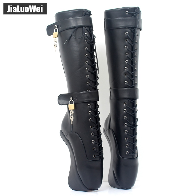 jialuowei Rubber Ballet Boots Women 18cm Ultra High Hoof Heels Lockable Padlocks Fetish Sexy Lace Cross-Tied Knee-High Boots