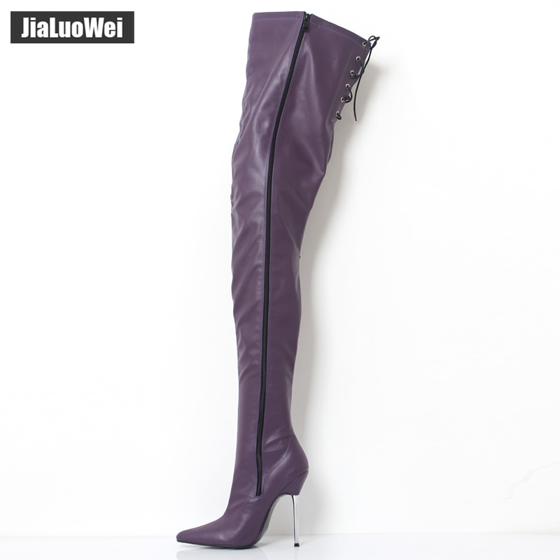 jialuowei 12cm High Heel Pointed-toe Zip PU Leather Metal Thin Heels Over the knee thigh Long boots Sexy Fetish Shoes Size 36-46