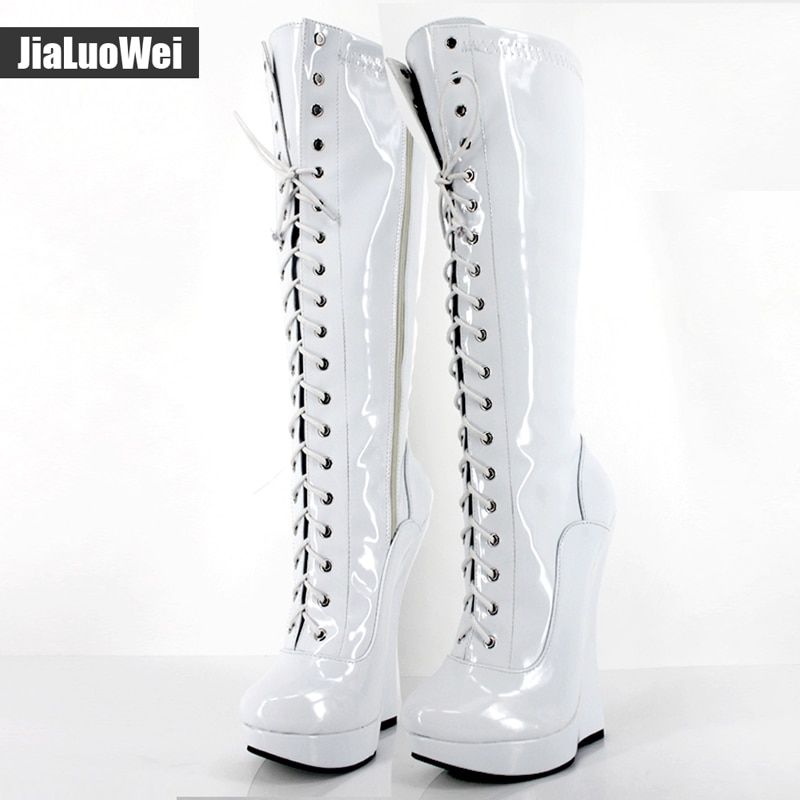 Brand New Ballet Boots Lace-up 18cm Wedge heel with strange Heel 3CM Platform Patent Leather Sexy Fetish Zipper Knee High boots