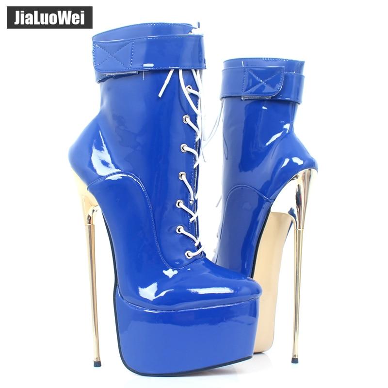 jialuowei Fetish High Heel Platform Boots Women Sexy 22cm High Gold Thin Heels Fetish Nightclub Party Dance Ankle Boots Plus Siz