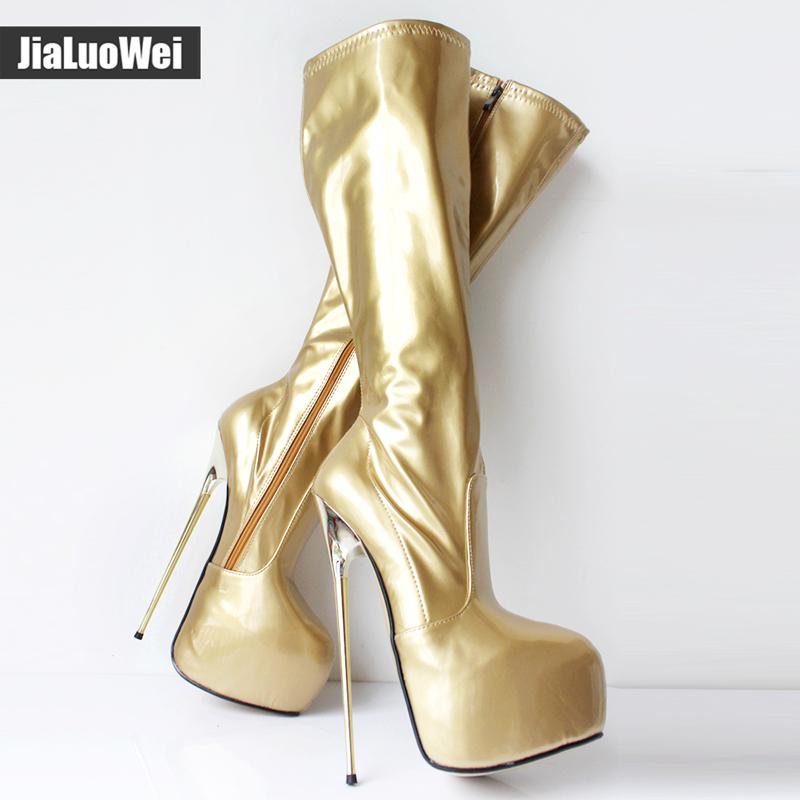 jialuowei Women Platform Boots 22cm Gold Metal Ultra High Heel Knee High PU Leather Zipper Female Shoes Sexy Fetish Boots
