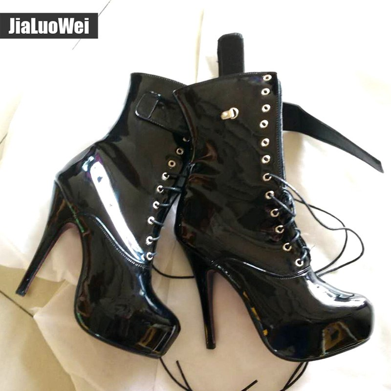 jialuowei Sexy Women 15cm High Heel Platform Lace-Up Fetish Lockable Straps Padlocks Ankle Boots Size 36-46