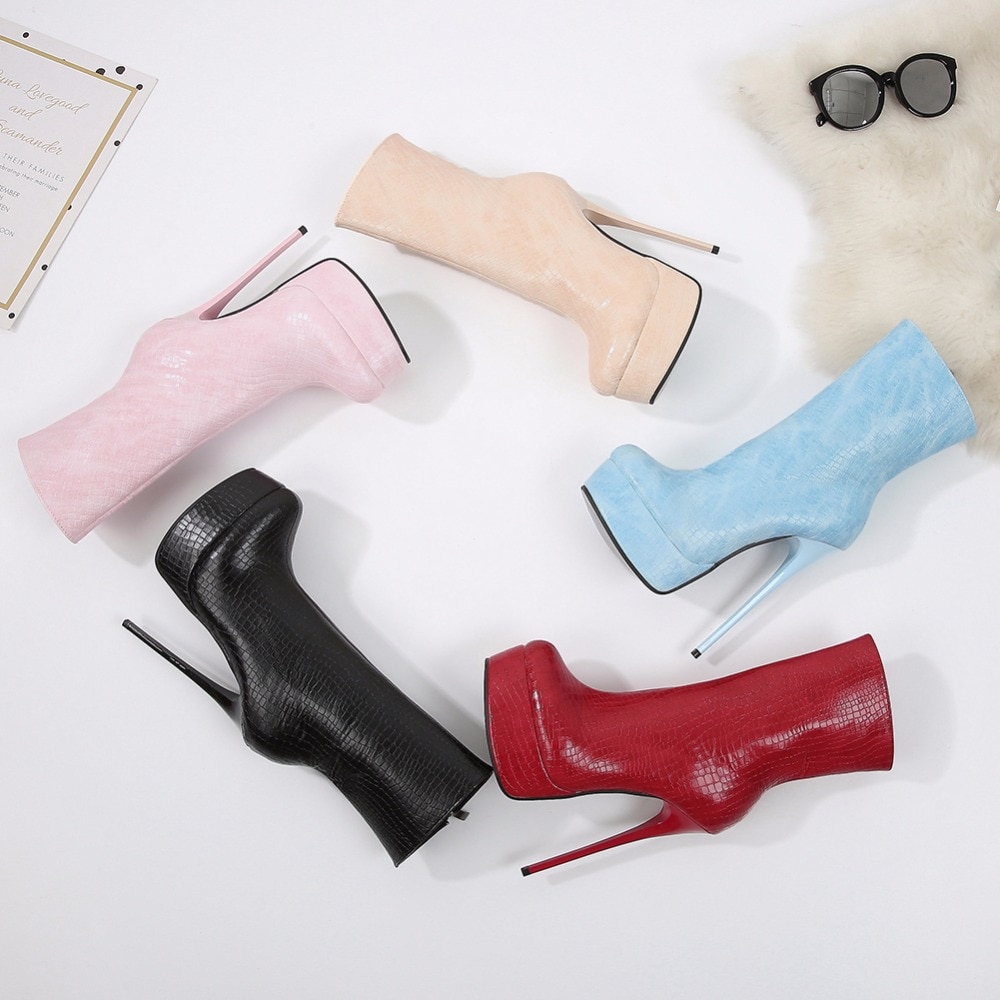 STOCK Ankle Boots Women Platform Super High Heel winter boots women Sexy casual Shoes Fetish crocodile Patent Party Boot Fletite