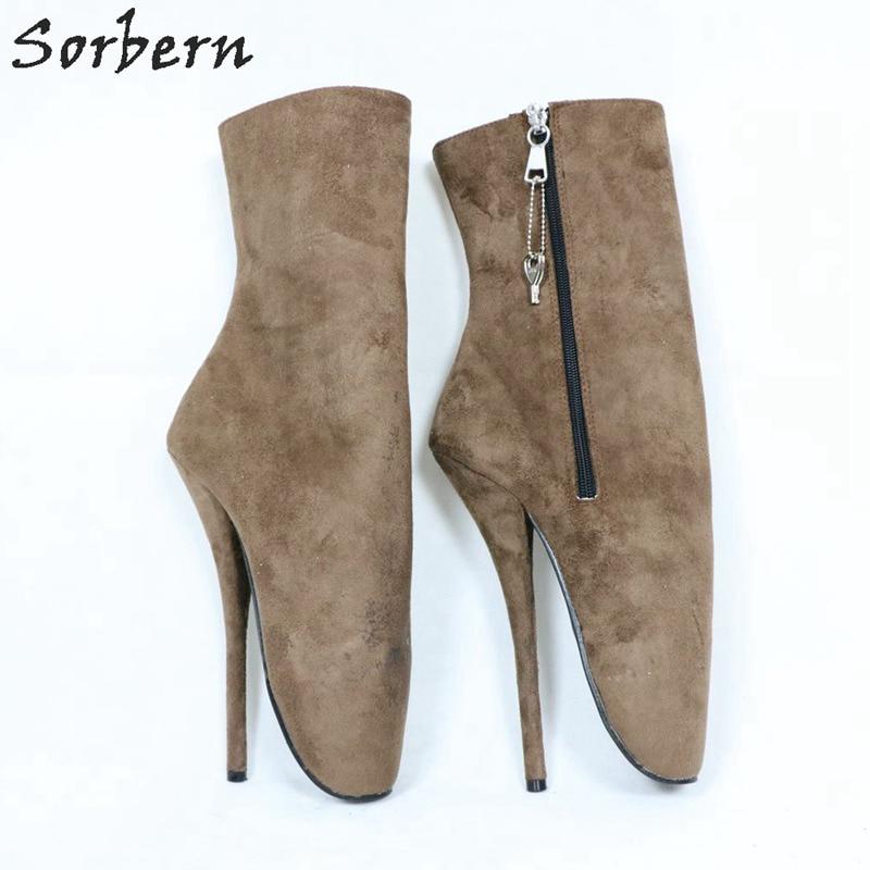 Sorbern Deep Grey Ankle High Ballet High Heel Boots Women Side Zipper Custom Colors Big Size Sexy Fetish Shoe Unisex Sm Heels