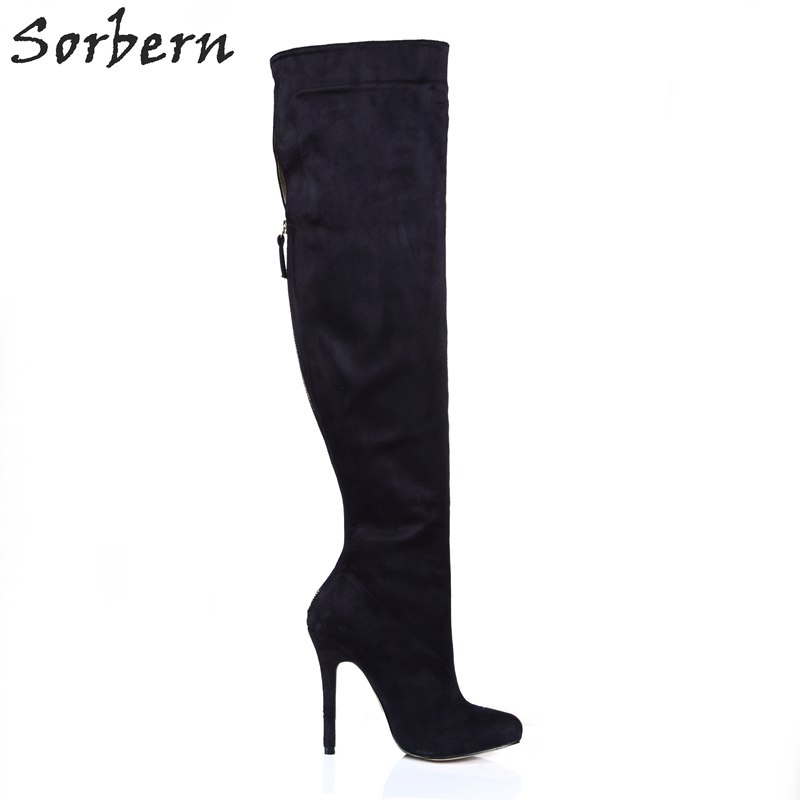 Sorbern Black Knee High Ladies Boots High Heels New Design Bowties Size 11 Sexy Shoes Fetish Womans Size 6 Shoes Custom Colors