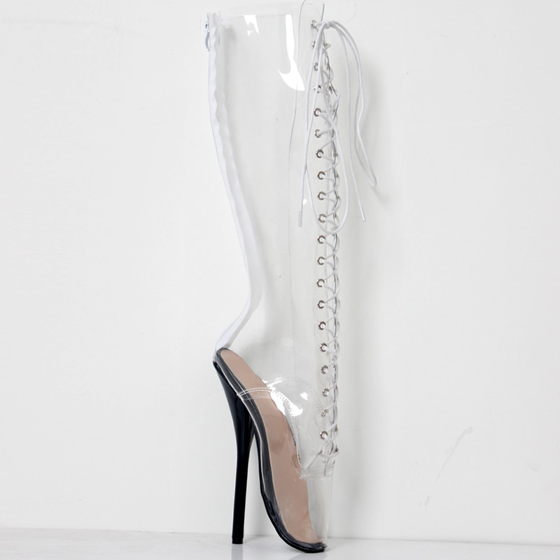 jialuowei 2018 New Women Sexy Ballet super fashion shoes Pointed Toe Transparent Clear Vinyl Thin Sexy Fetish High heel boot