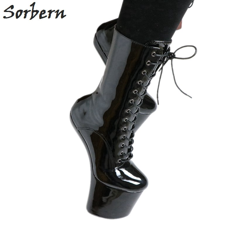 Sorbern Black Hoof Heel Sexy Fetish Boots Mid-calf Women Shoes High Heels Patent Leather Cosplay Boots Unisex Plus Size 36-46