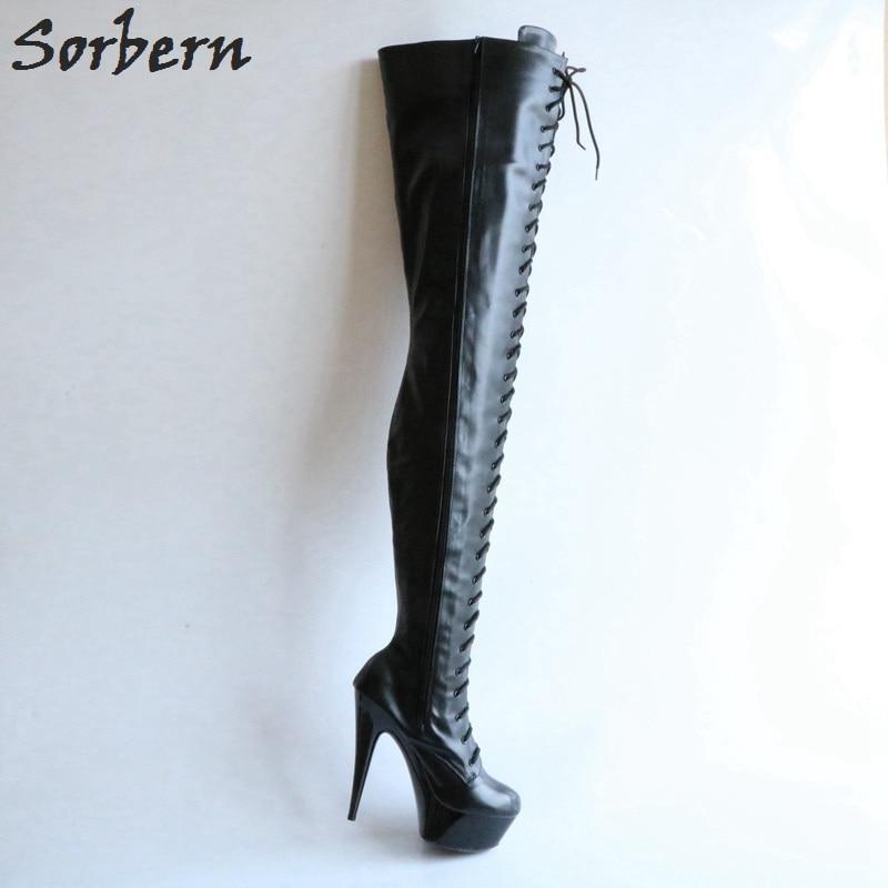 Sorbern Sexy Fetish Boots Women 15Cm Platform 80Cm Crotch Thigh High Burlesque Heel Lace Up Zip Black Matte Custom Colors