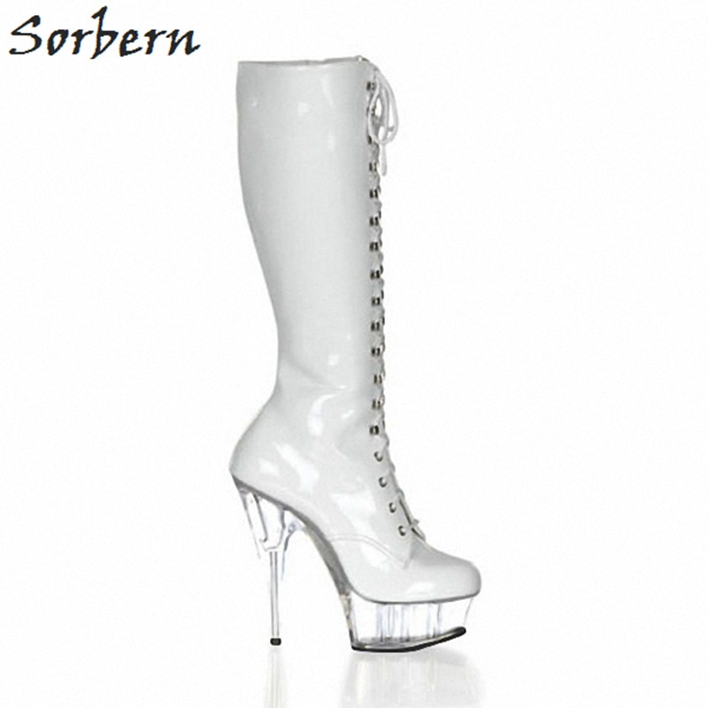Sorbern Sexy Perspex High Heels Booties Womens Shoes Size 12 Custom Wide Calf Ladies Boots 15Cm Heels Fetish Boots Pole Dance