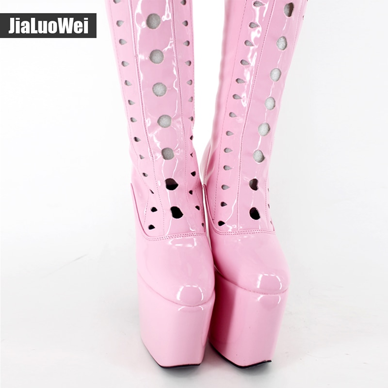 Jialuowei Design 8 inch Extreme high heel Sexy fetish Over The Knee Thigh High Heel Platform Round Toe Stretchy Boots Plus size