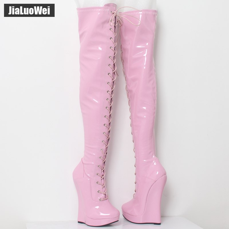 jialuowei 18cm Super High Wedge Heel Heelless Boots Lace-up Zip Fetish Exotic Sexy Crotch Thigh High Over-the-Knee Boots