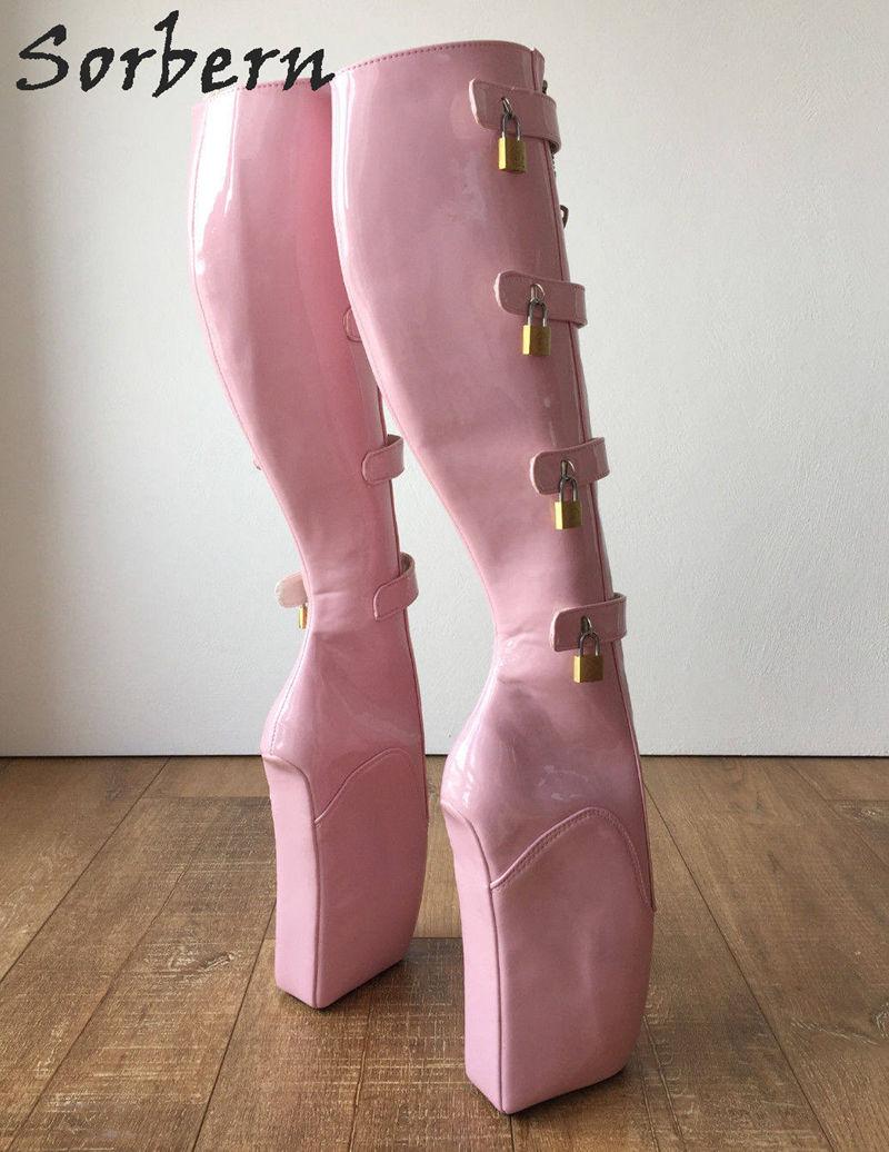 Sorbern Sexy Ballet High Heel Wedges Boots Knee High Women 18Cm 10 Keys Lockable Boot Hoof Heelless Fetish Light Pink Shoes
