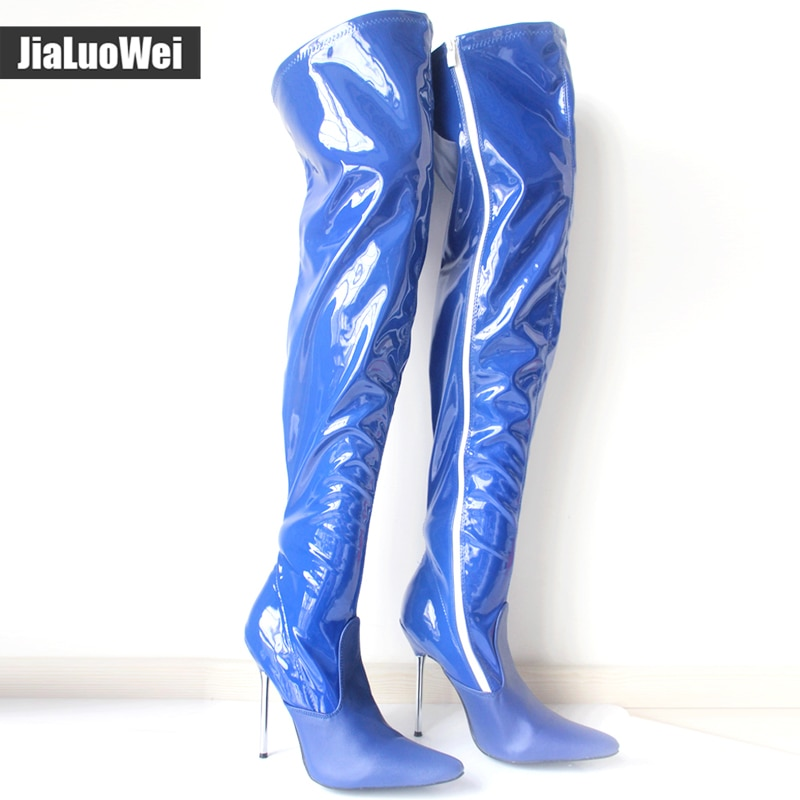 Sexy fetish fashion unisex long boots Patent leather 12cm Metal Thin Heel stiletto overknee boots black shiny thigh high boots