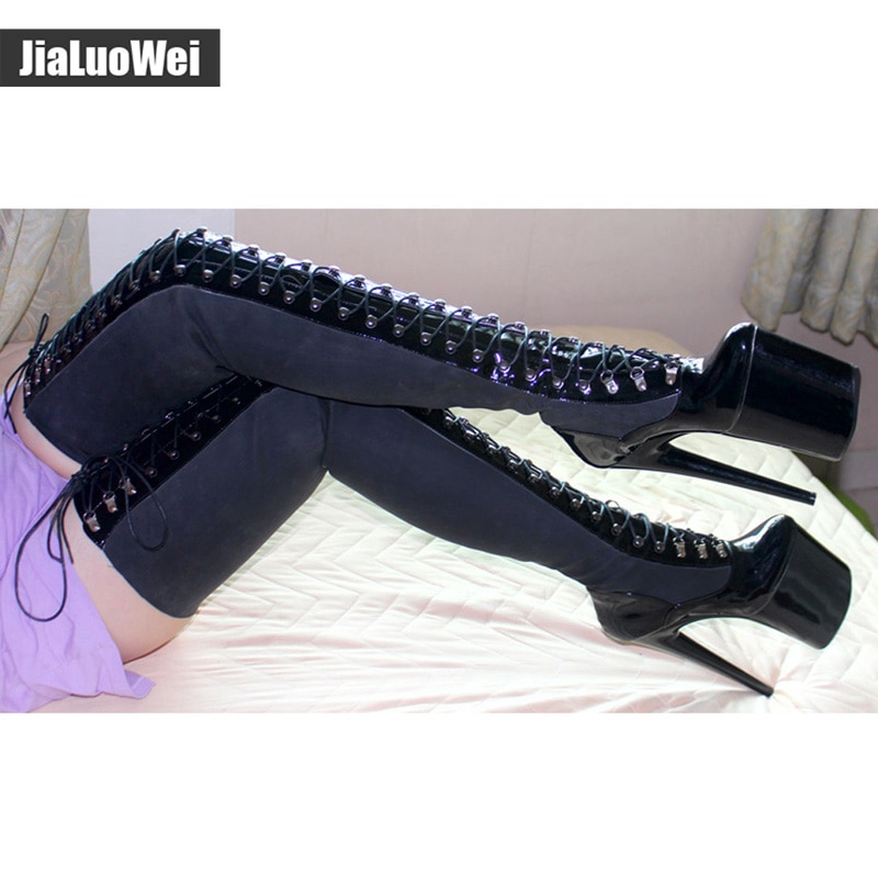 jialuowei 20cm High heel+9cm platform boots Cross-tied gladiator sexy Fetish boots patent shiny over the knee Thigh high boots