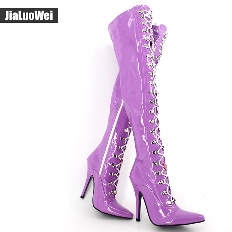 Jialuowei 12cm  High heel Ladies Black Patent Over Knee Thigh Boots Sexy Fetish Pointed Toe Stiletto Point Lace Up Boots