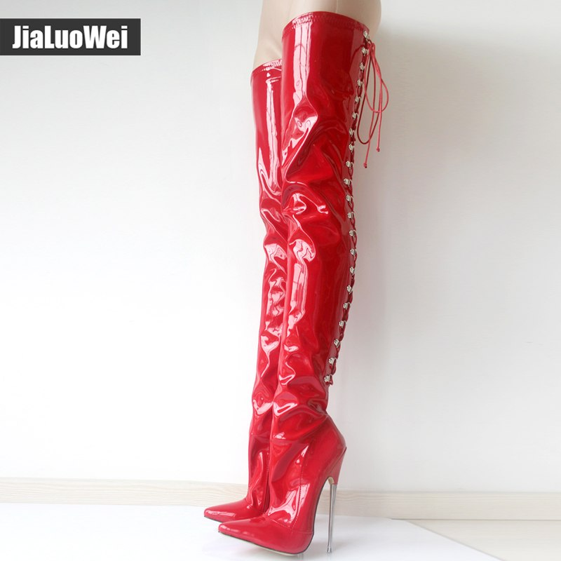 jialuowei 18cm High Metal Heel Laceup Thigh Goth Punk Pinup Cosplay Patent Sexy Fetish Back Cross-tied Crotch High Boots