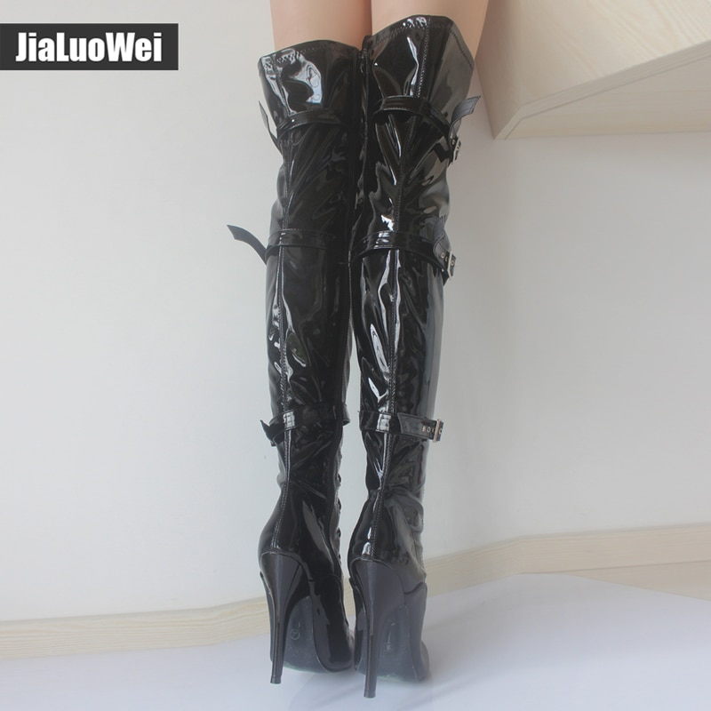 jialuowei Fashion 12cm high heel pointed toe Patent Leather Lace-Up Buckle Straps Sexy Fetish over-the-knee Unisex  Boots