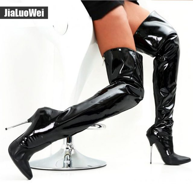jialuowei Women Fashion 12CM High Heel Sexy Fetish Pointed Toe Stiletto Thin Heels Zip Over-the-Knee Thigh long Boots
