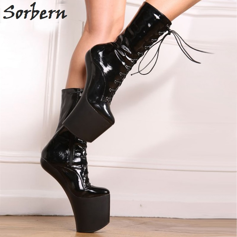 Sorbern Sexy Hoof Heel 20cm Fetish Boots Mid-calf Women Shoes 9cm Platform High Heels Shiny PU Halloween Vamp Plus Size 34-46
