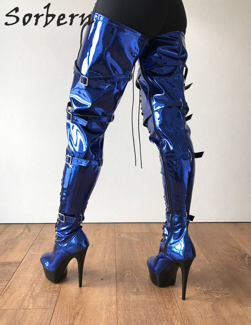 Sorbern Sexy Fetish Boots High Heel 15Cm Platform Thigh High Boots Burlesque Heel 80cm Crotch Cosplay Goth Punk Blue Metallic