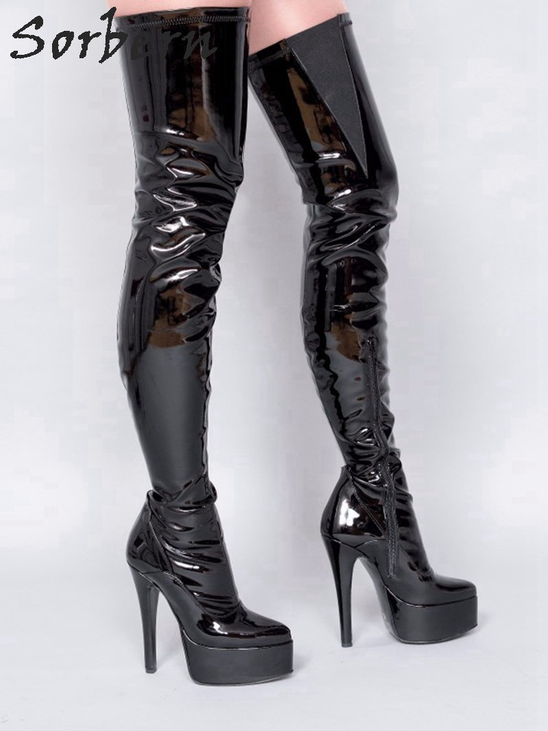 Sorbern Sexy Over The Knee Boots Platform Shoes Women Fetish High Heels Pointed Toe Side Zipper Elastic Thigh Custom Size 33-46