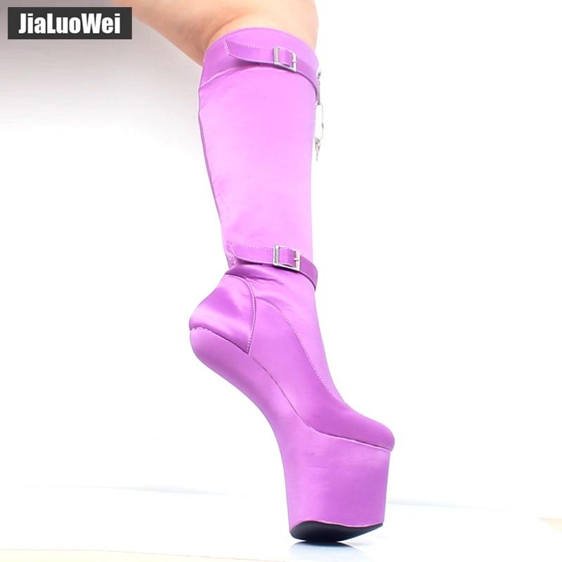 jialuowei Knee-High 20CM Extreme High Heel Boots Strange Style Heelless No-Heels Platform Fashion Sexy Fetish Lockable Zip Boots