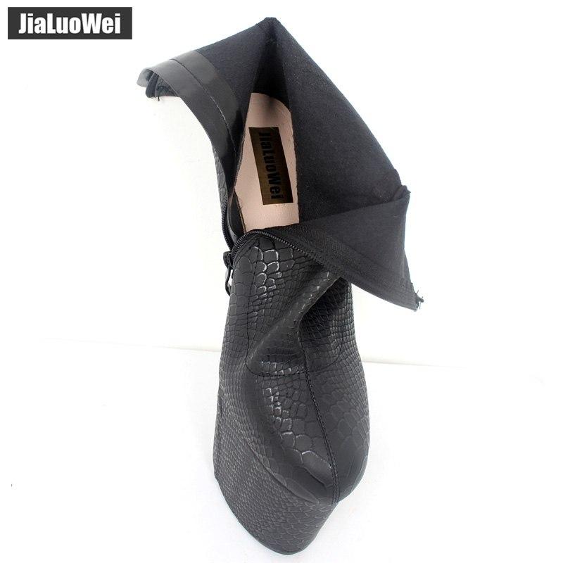 jialuowei 2018 New Strange Style Heelless No-Heel Sole Sexy Fetish Serpentine Print 20CM Super High Heel Platform Ankle Boots