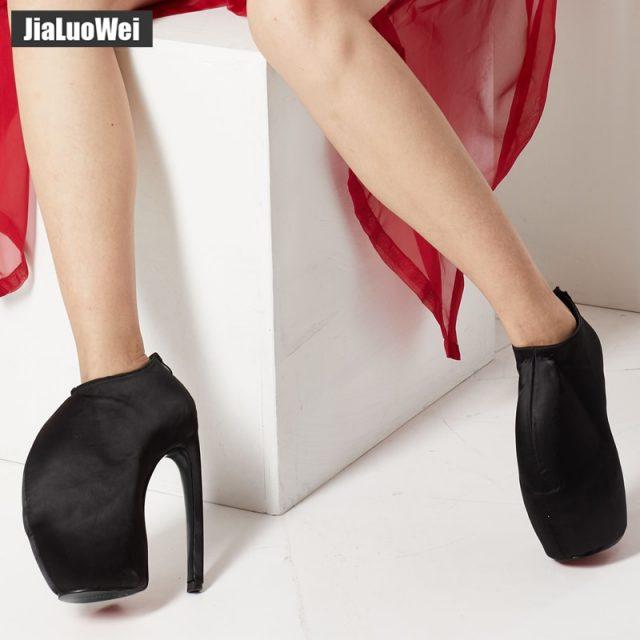 jialuowei 2018 New Strange Style Designer 18CM Super High Heel Platform Boots Sexy Fetish Unisex Ankle Pumps Plus Size 36-46