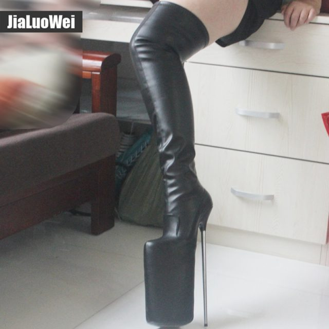 jialuowei Women Sexy Fetish Dance Nightclub Boots 30CM Extreme High Heel Metal Heels Platform Zipper Over Knee Thigh High Boots