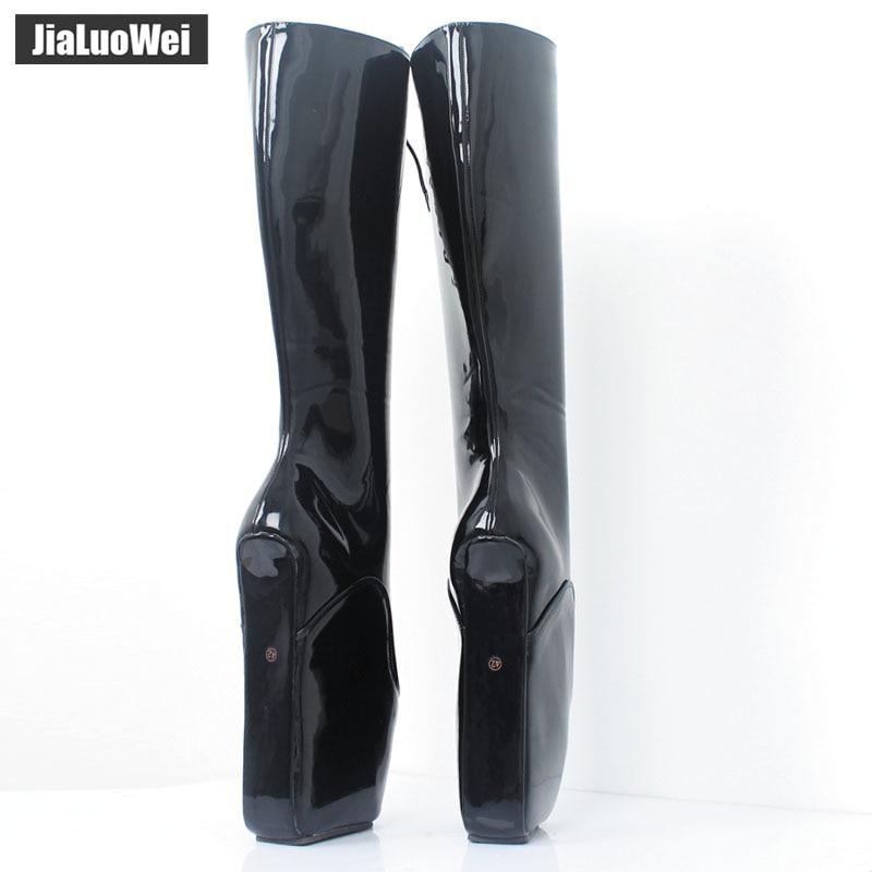 jialuowei Brand 18CM Super High Heel Wedges Ballet Boots Women Stange heels Patent Leather Cross-tie Sexy Fetish Knee High Boots