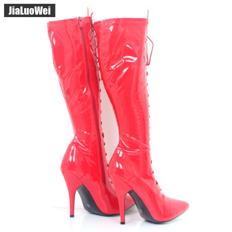 jialuowei Women Boots Fashion Sexy fetish 12cm Thin High Heels Knee-High Boots Lace-Up Pointed Toe lace up Long shoes