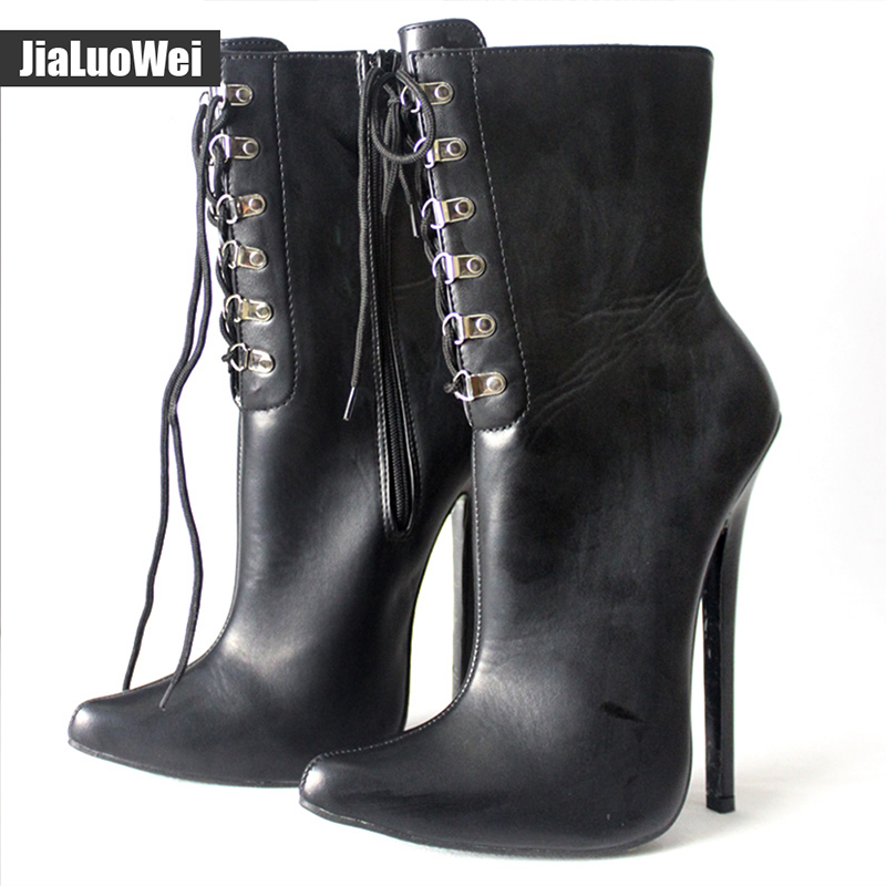 jialuowei Ladies Sexy Fetish Exotic boots 18CM Thin high-heeled Boots PU leather pointed toe Stiletto Cross-tied Ankle Boots