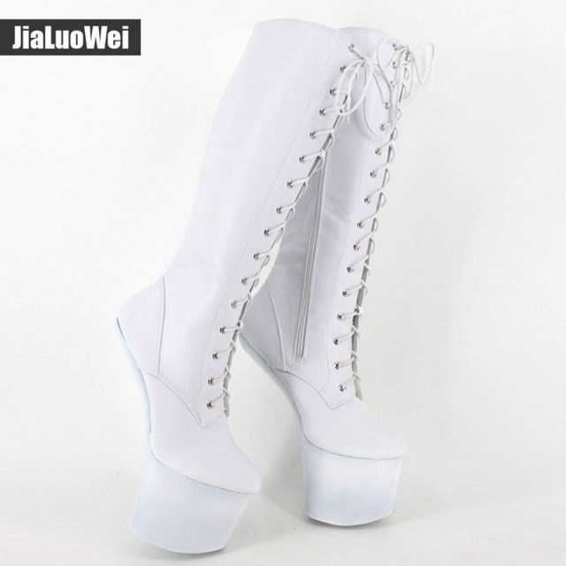 jialuowei 20cm High heel Ballet Boots Hoof Sole Heelless Sexy Fetish 9cm Platform Punk Goth Pinup Ballet Pointe Knee-high Boots