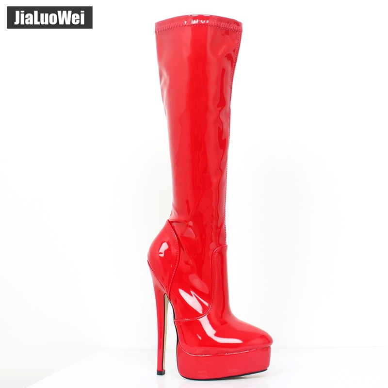 jialuowei 2018 Women Boots patent leather Sexy Fetish 18cm High Heels Woman Platform Pointed Toe Zip Knee-High Dancing Boots