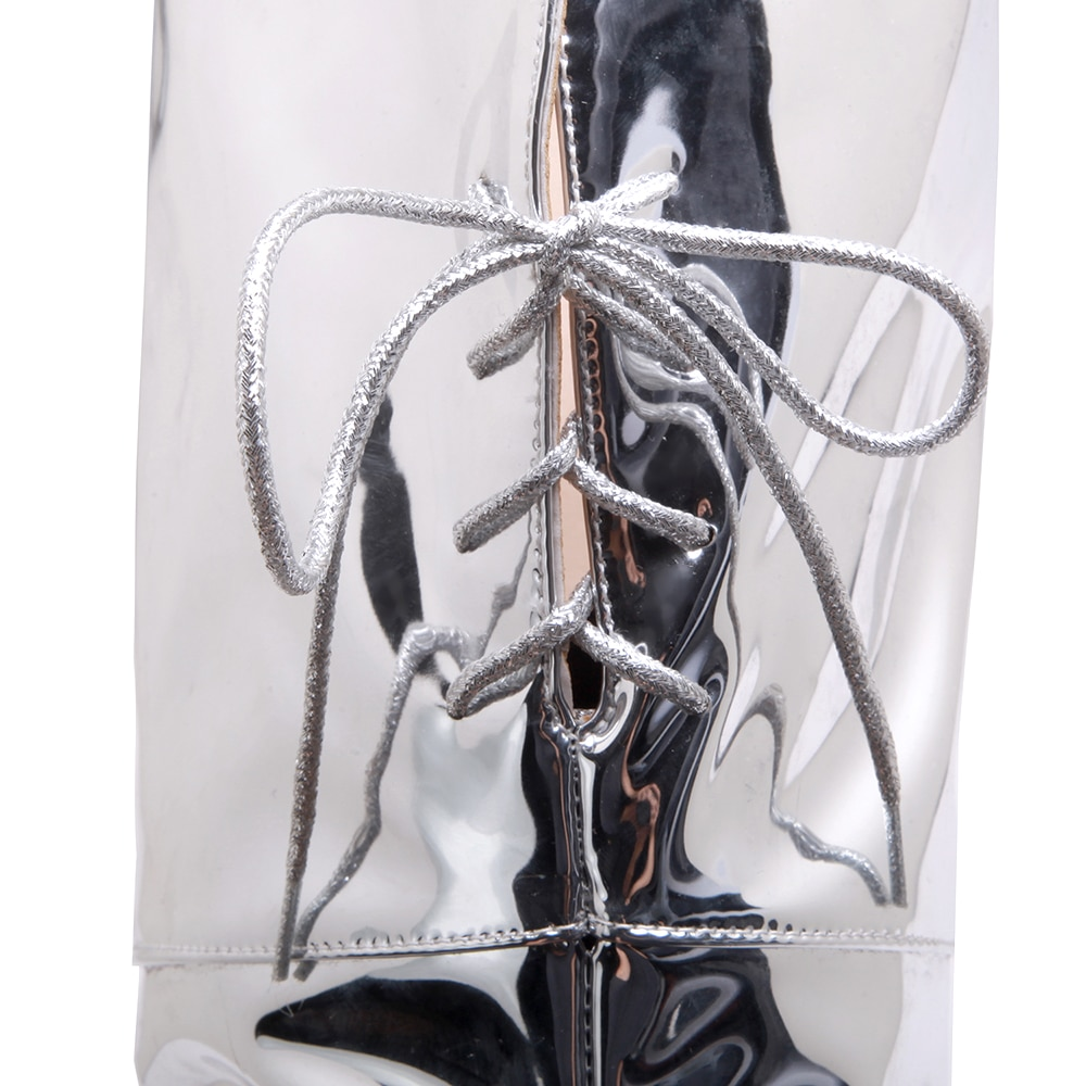 New Plus size 48 Women Over Knee Boots Sexy Fetish Dance Nightclub Party Shoes High Heel Platform Women Silver Thigh High Boots
