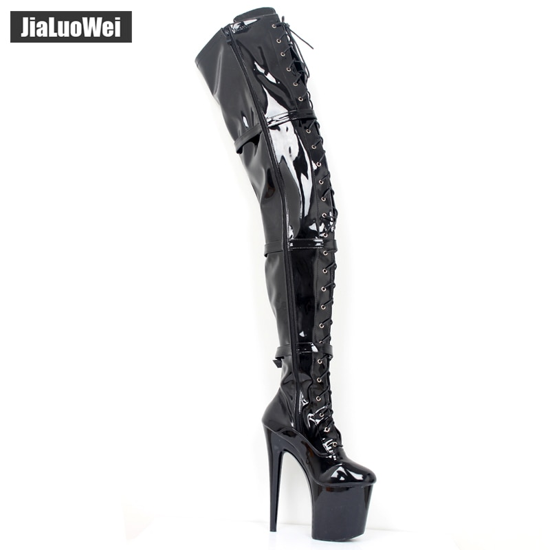 jialuowei 20cm Extreme High heel Woman Fashion Sexy Fetish platform Buckle Straps Over-the-Knee Thigh High Clubwear Dance Boots