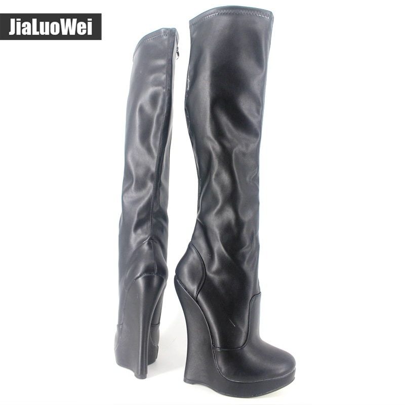 jialuowei 18cm Extreme High Heel Wedge heel 3cm Platform Pointed Toe Women PU Leather Side Zipper Sexy Fetish Knee-High Boots