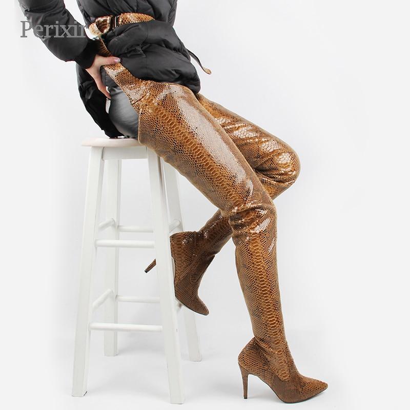 Perixir Spring/Autumn New Fetish Shoes Women Extreme Long Waist Botas Sexy Thin High Heels Rihanna Crotch Thigh High Boots